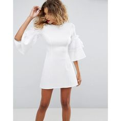 ASOS Organza Drama Sleeve Scuba Shift Mini Dress ($64) ❤ liked on Polyvore featuring dresses, white, long-sleeve shift dresses, flutter sleeve dress, neck-tie, tie neck tie and white prom dresses