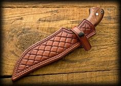 Burt Foster uploaded this image to 'misc knives'. See the album on Photobucket. Leather Carving, Leather Art, Custom Leather, Leather Engraving, Leather Knife Sheath Pattern, Leather Pattern, Leather Holster, Leather Wallet, Axe Sheath