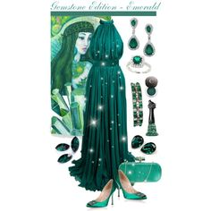 Gemstone Edition: Emerald by giovanina-001 on Polyvore featuring polyvore, fashion, style, Alexander McQueen, Manolo Blahnik, Marchesa, Chantecaille, Anna Sui and clothing