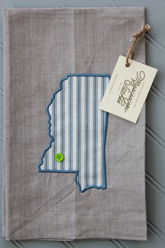 Kitchen Tea Towel - Linen Tea Towel - Embroidered Tea Towel - Mississippi Linen Tea Towel - Blue Ticking Stripe by MSstitchesbyKatie on Etsy