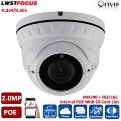 Sony IMX290+Hi3516C FULL HD 1080P Real WDR POE SD Card Slot 2MP IP Camera Outdoor Waterproof Dome Surveillance Camera IP ONVIF