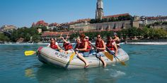 River rafting on the Aare - River rafting on the Aare is a fun summer experience for young and old. At the weekends hundreds of water enthusiasts travel to the Aare just to ride the rapids. Capital Of Switzerland, Most Beautiful Cities, Rafting, Activities, City, Water, Summer, Fun, Travel