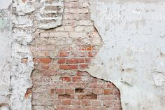 Aged brick wall with cracked plaster royalty-free stock photo Brick Wall, Plaster, Royalty Free Stock Photos, Theater, Prints, Dining Room, Mood, Brick, Grow Old