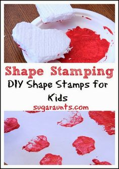 DIY shape stamps for creative painting (and learning!) By Sugar Aunts. Crafts For Kids To Make, Craft Activities For Kids, Preschool At Home, Preschool Shapes, Brain Craft, Measurement Activities, Diy Crafts, Toolbox, Creative