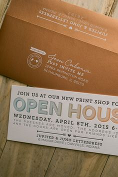 Open House Invitation, new business open house, moving open house card wording, letterpress invitations, ombre, split fountain, rainbow roll, white laser printing