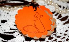 Fox Scalloped Circle Gift Tags  Party Favor Tags  by Booksonblocks, $5.95
