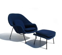 womb chair with ottoman designed by eero saarinen and made by knoll