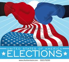 Poster with black ballot box ready for the American elections with a U.S.A. flag around it.