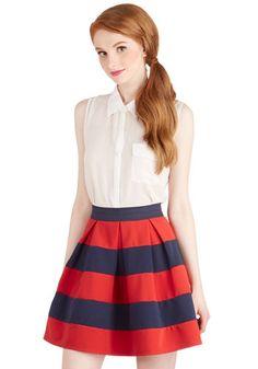 Stripe it Lucky Skirt in Navy & Red