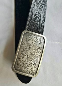 Tooled Leather Belt, Vintage Belt Buckle, Fossil Belt by ResouledGypsy on Etsy