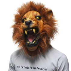 Full Face Ferocious Angry Lion Head Latex Mask Realistic