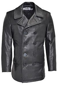 Schott leather naval pea coat. This looks like some jacket you'd see in a movie! Doesn't it? $600
