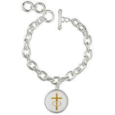 Golden 3-D Cross with Wedding Rings #Bracelets....#crosses #Christian #Catholic #WeddingRings #forsale #Zazzle #Artists4God #religious #religion #golden #RoseSantuciSofranko