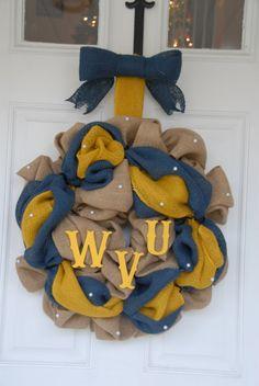 WVU Burlap Wreath by ShuppesWreathShop on Etsy https://www.etsy.com/listing/216109368/wvu-burlap-wreath
