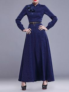 Blue Floral Appliqued Polyester Long Sleeve Maxi Dress