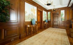 Interior of hallway with luxurious wood trim