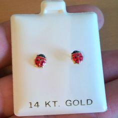 New 14k Yellow Gold Red Black Enamel Lady Bug Baby Earrings Screw Back