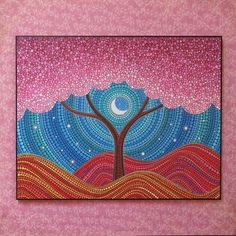 Colorful Print Laminated on woodblock- Moonlit Blossoms