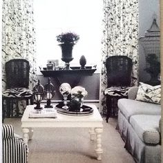 I love this paint with the black and white fabrics and furniture. I think a splash of blue or yellow or even scarlet red here and there would make a gorgeous master bedroom! I got this color decorating brochure at Lowe's Hardware. It's by Olympic paint.