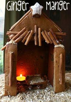 Ginger Manger: I like the idea of recreating a manger every Christmas with your family. This is made of gingerbread, cinnamon sticks and crushed frosted wheats. I have been told you can purchase big bags of cinnamon sticks at the dollar store. They would be perfect for this project.