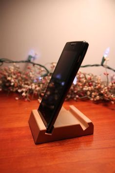 Maple wood phone stand, tablet stand. iPhone, iPad, Galaxy, Droid. Without case. Business card holder.. $8.00, via Etsy.