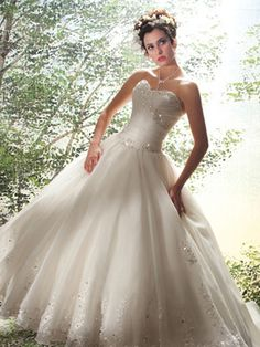 White Quinceanera Dresses - Jeweled Sweetheart Neckline