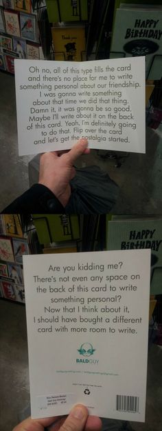 The perfect birthday card for when you don't know what to write…