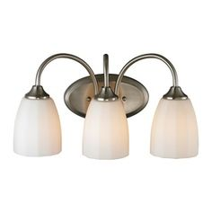 Westmore Lighting�3-Light Calford Brushed Nickel and Opal White Lined Glass Bathroom Vanity Light