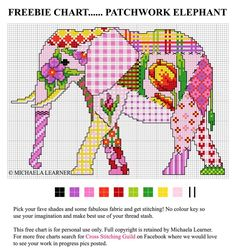 Lovely Patchwork elephant cross stitch pattern from the Cross Stitching Guild