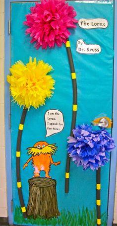 """The Lorax"" by: Dr Seuss classroom door. Dr. Seuss, Dr Seuss Week, Dr Seuss Lorax, Classroom Door, Classroom Displays, Science Classroom, Classroom Themes, Preschool Bulletin, Library Displays"