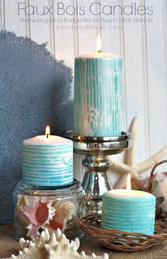 Who knew you could paint candles? Love these Faux Bois Painted Candles using stencils from new Mod Podge Rocks line!
