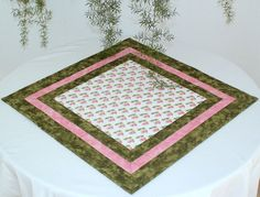 Quilted Table Topper Cherry Table Runner Pink by RedNeedleQuilts