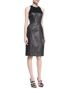 Sleeveless Textured Cocktail Dress by Carmen Marc Valvo at Neiman Marcus.