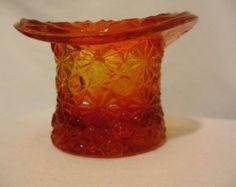 SALE!!  Vintage Fenton Daisy & ButtonTop Hat- Orange
