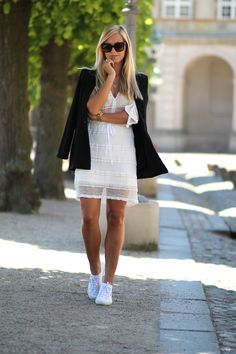 Danish Summer outfit. Wearing white dress from Ganni, black blazer from an ounce, sneakers from Superga and sunglasses from Celine. See more on natulia.com