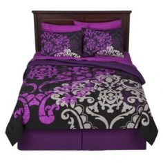 Xhilaration Scroll Grey Black and Purple Bed in a Bag (I'm currently redoing the walls to match this bedding set for my sweetie pie daughter)