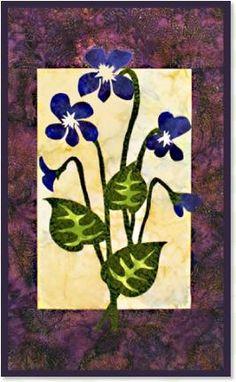 Violet floral appliqué quilt patterns by Debra Gabel of www.ZebraPatterns. #quilts #applique