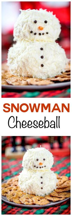 Ranch Snowman Cheeseball: Tangy cream cheese and zesty ranch come together in this super simple appetizer. Guaranteed to be the cutest item on the holiday buffet! Christmas Party Food, Christmas Appetizers, Christmas Cooking, Christmas Goodies, Christmas Desserts, Appetizers For Party, Christmas Treats, Holiday Treats, Holiday Recipes