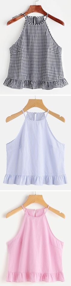 Gingham Buttoned Keyhole Back Frill Halter Top - 2019 Mode Outfits, Dress Outfits, Casual Outfits, Summer Outfits, Dresses, Diy Fashion, Fashion Outfits, Womens Fashion, Creation Couture