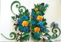 Quilling wall art/Romantic/Roses/Lily of the valley/Butterfly
