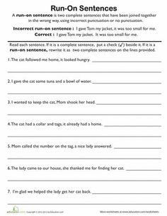 Combat bad writing habits with this grammar worksheet. It teaches kids to identify run-on sentences and rewrite them correctly. When kids know how to recognize run-on sentences, they& less likely to use them in their own writing later on. Work On Writing, Sentence Writing, Writing Workshop, Teaching Writing, Teaching Ideas, Writing Prompts, Kindergarten Writing, Writing Ideas, Run On Sentences