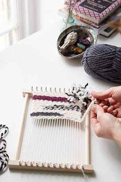 Peg Loom DIY Weaving Kit - Urban Outfitters- I want to make this loom board. Diy Craft Projects, Diy Crafts, Craft Ideas, Loom Board, Weaving Tools, Peg Loom, Beach Design, Loom Knitting, Diy Kits