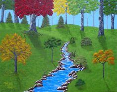 Forrest Stream 16x20 Acrylic Painting on by AcrylicsAndBeyond, $160.00