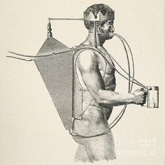 Underwater breathing apparatus. Historical artwork of a 19th-century experimental underwater breathing apparatus known as 'Le Triton'. It was designed in 1808 by Frederic de Drieberg. The diver carries a metal air cylinder on his back, with a metal crown on his head, connected to a pair of bellows. By nodding his head, the diver causes the bellows to suck air from the surface through a tube. Artwork from 'La Navigation sous-marine' (1906).