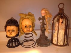 Junky doll heads by Sheila Stout Halloween Doll, Halloween Projects, Halloween Ideas, Creepy Baby Dolls, Broken Doll, Gothic Dolls, Bizarre, Doll Parts, Old Dolls