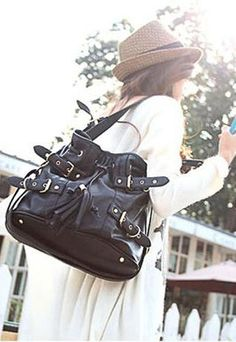 Fabulous Tassle Black Hobo Handbag Shoulder Bag