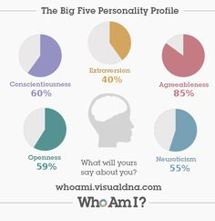 Who Am I? Personality Test: This covers Mcraes BIG 5. A highly validated theory of depositional personality dimensions
