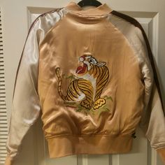 Gold reversible silk jacket Worn once // mint condition with a small string pulled,from,flower on Brown side- picture shown above.. Other than that it is perfect!!! Retro 90s geisha silk jacket great with hoops x Gold hawk  Jackets & Coats Puffers
