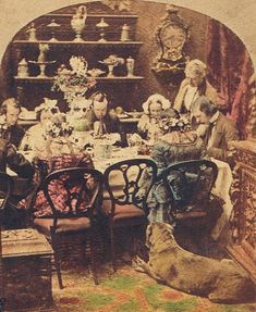 """At dinner. ca. 1858. Stereoscope detail. J. Calvelo collection."""