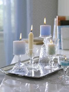 Romantic glasses with candles